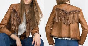 Zara-chaqueta-de-cuero-chaqueta-flecos-genuine-real-Leather-Jacket-fringes-size-s-36