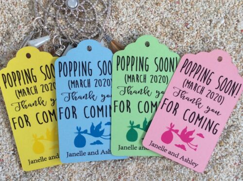 10 Kraft Pastel Tags Baby Shower Favour Personalised Bomboneire Popping Boy Girl