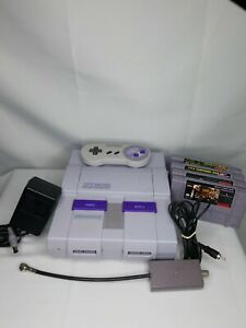 Super-Nintendo-Origional-Consol-Cords-and-Controller-Donkey-Kong-SNES-Tested