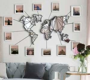 Mirror World Map Metal Wall Art Mirror Metal World Map Wall Panel Home Decor Ebay