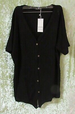 Style; In Miholl Women's Casual Or Work Sweater Black Button Down Short Sleeve Size M Nwt Fashionable