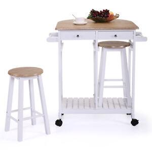 Wood Kitchen Island Cart Drop Leaf Portable Rolling Storage Trolley