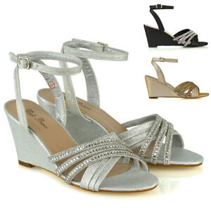 RéAliste Femme Mi Talon Compensé Chaussures Femme Strass Soirée Brillant Sandales Taille-afficher Le Titre D'origine
