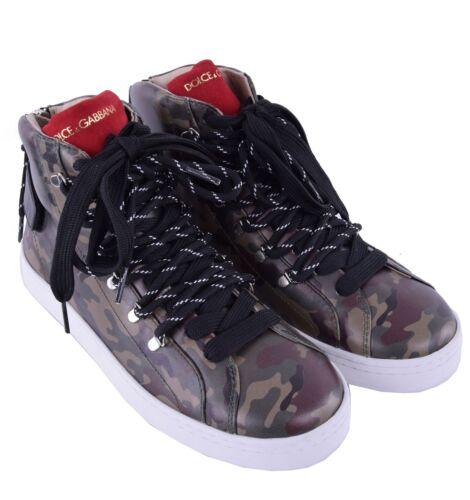 Dolce & Gabbana High-Top Zapatillas Camuflaje Estampado Caqui Made IN Italy