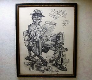 Details about Vintage Artist Jim Daly Print Man Reading Daily Racing Forum  Charcoal Framed VgC