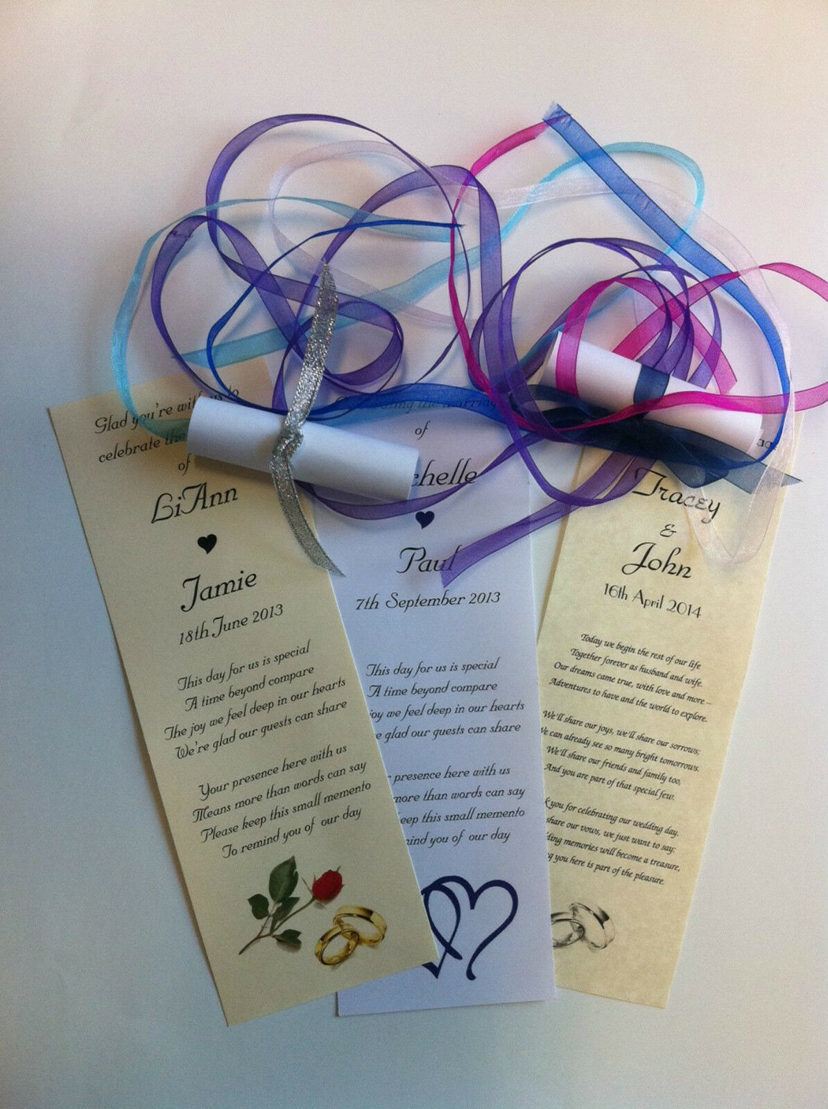 500 Personalised Wedding Favour Scrolls with Image & Ribbon WPWR500