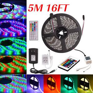 5M-RGB-5050-3528-SMD-Flexible-LED-Strip-Light-Wireless-Remote-Power-Supply-12V