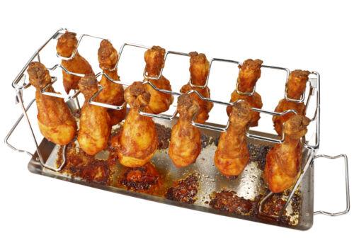 mumbi Edelstahl Hähnchen Schenkel Halter Grill BBQ Rack Drumstick Chicken Wings