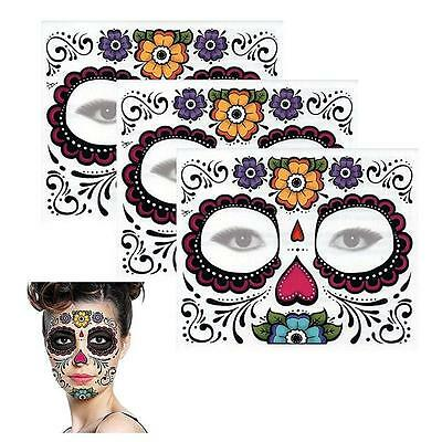 Lovely Long Lasting Easy to Remove Sugar Skull Temporary Tattoo Floral Design