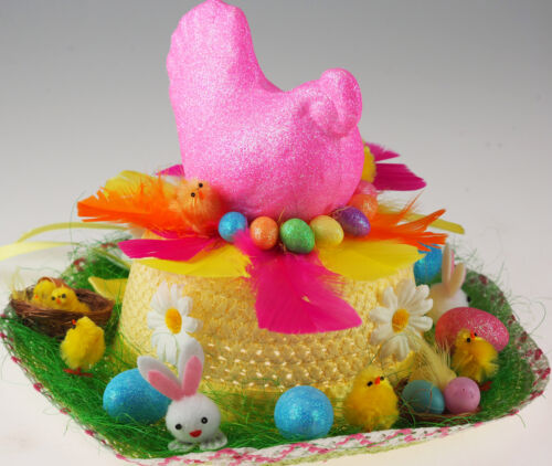 Girl/'s Ready Made Decorated Easter Bonnet Chapeau-Pink Glitter poule