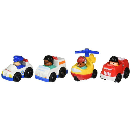 Little People Toy Wheelies 4pc Ambulance FIre Truck Police Car Helicopter Play