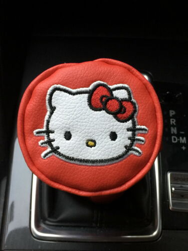 Round-Head Shift Knob Gear Stick Cover Red Hello Kitty Faux Leather Car Manual