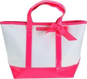 Brand-New-Juicy-Couture-Tote-Bag-Hot-Pink-Trim-Bottom-and-Ribbon-Bow-White