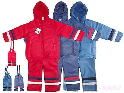 Kids Blue Padded All-in-One Suit Snowsuit Winter Hooded Childs Childrens Boys Girls Olive Colour 12-18Months
