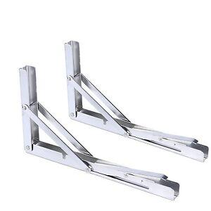 Set of 2 Stainless Folding Bench Table Folding Shelf Bracket -Long Release Arm