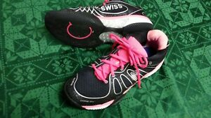 finest selection 314a2 9cc1d Details about K SWISS k-eva 45, size 9 1/2 Seam Free Tech Black w Pink &  Silver no inner sole