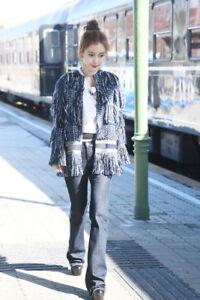 Womens Jacket Twe12 Tweed Tassle inspiré Designer bleu laine Manteau Uw4fW5q8v5