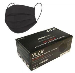 50 masques chirurgicaux YLEA noirs FULL BLACK FILTRATION+99% 3 plis de Type II E