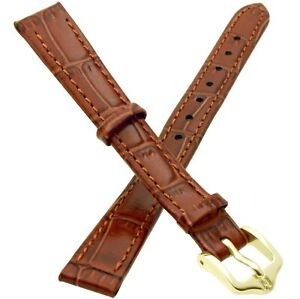 12mm HIRSCH LOUISIANALOOK Calf Embossed Leather Watch Strap Band in BROWN