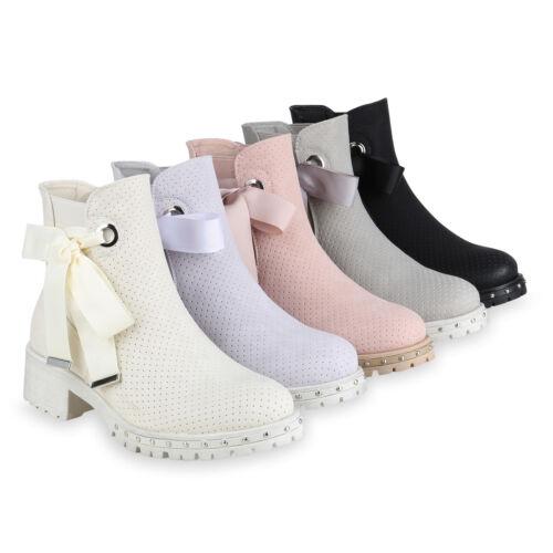 Damen Stiefeletten Chelsea Boots Nieten Schleifen Freizeit 820347 Schuhe
