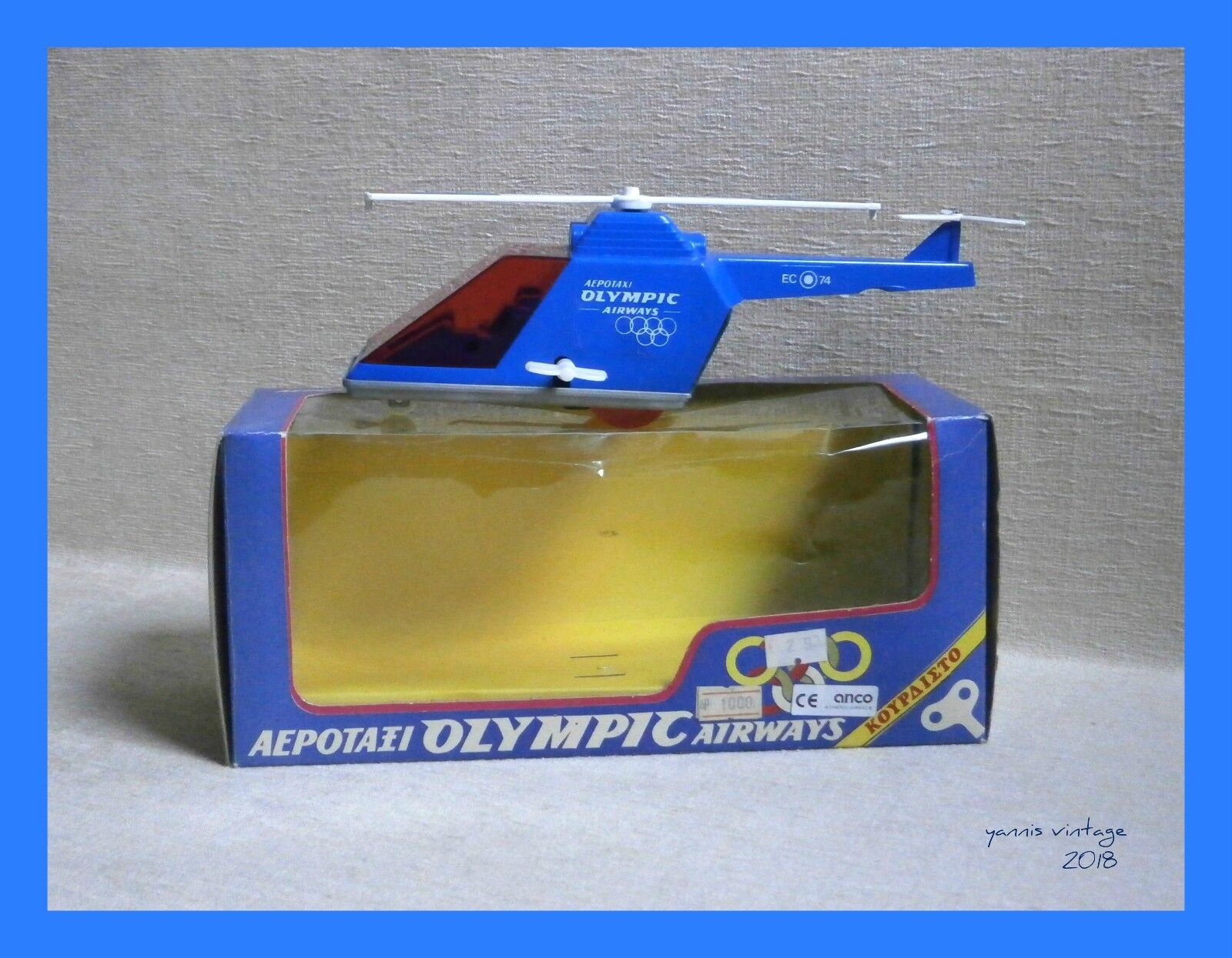 AERO-TAXI  HELICOPTER OLYMPIC AIRWAYS NIB Wind up Greece anco toys Plastic bluee