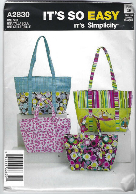 Simplicity Its so Easy Bag Tote Sewing Pattern 2 Sizes a 2830 Uncut ...
