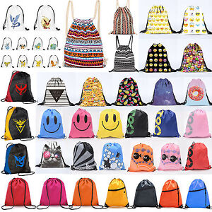 Drawstring-Gym-Bags-School-Library-Swimming-Travel-Kids-PE-Sports-Shoes-Backpack
