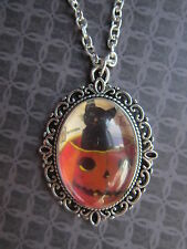 Halloween Silver Plated Black Cat in a Pumpkin Cameo Necklace New in Gift Bag