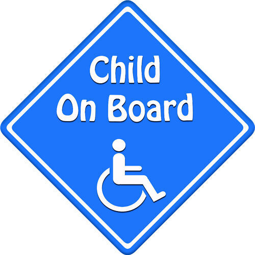 Disabled Child//Baby on Board Blue New!