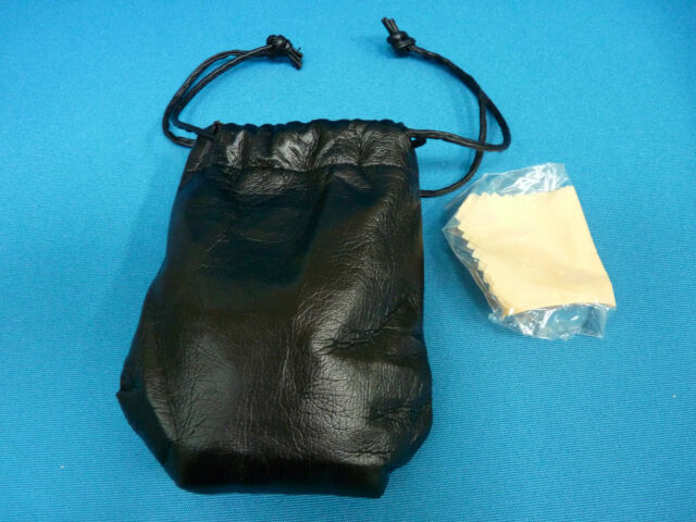 New Soft Black PVC Pouch Case With Drawstring Closure and Soft Cleaning Cloth