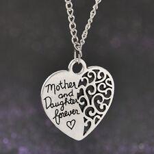 Vintage Madre E Hija Forever Love Corazón Colgante Collar De Plata Tono