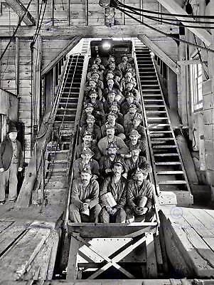 BLACK WHITE PHOTOGRAPHY COAL MINERS LIFT ELEVATOR SHAFT PRINT POSTER ABB6349B