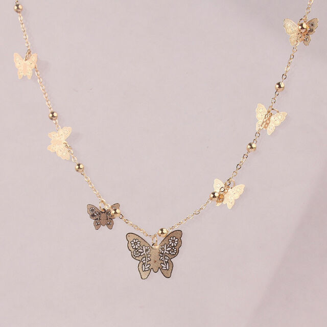 Necklace - Gold Plated Filagree Butterfly Necklace - Delicate and Beautiful