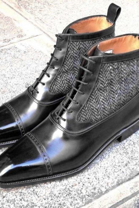 Hombres último único italiano Puntera De Tela Y Cuero botas, botas De Cuero
