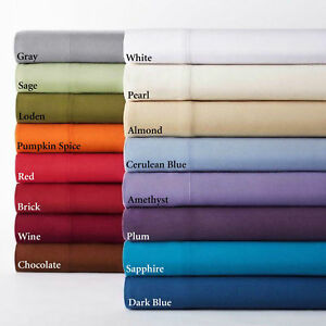 BED SHEET SET 6 PIECE SOLID ALL COLORS & SIZES 1000 THREAD COUNT EGYPTIAN COTTON