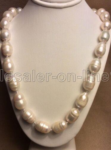 "Belle 8-9 mm South Sea baroque perle blanche 18KGP Collier 18/"""