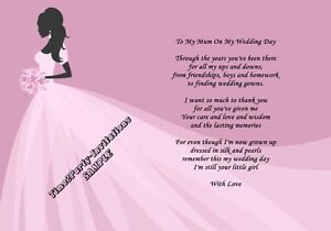 Image Is Loading A4 Wedding Day Thank You Gift Mother Of