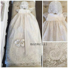 Baby Baptism Christening Gown Lace Crystal Dresses Bonnet Custom Dress+Hat+Shoes