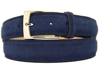Italiana Pelle Scamosciata Cintura Uomo Donna Suede Belt Blu 3,5cm Larga-l Herren Damen Suede Belt Blau 3,5cm Breit It-it Mostra Il Titolo Originale