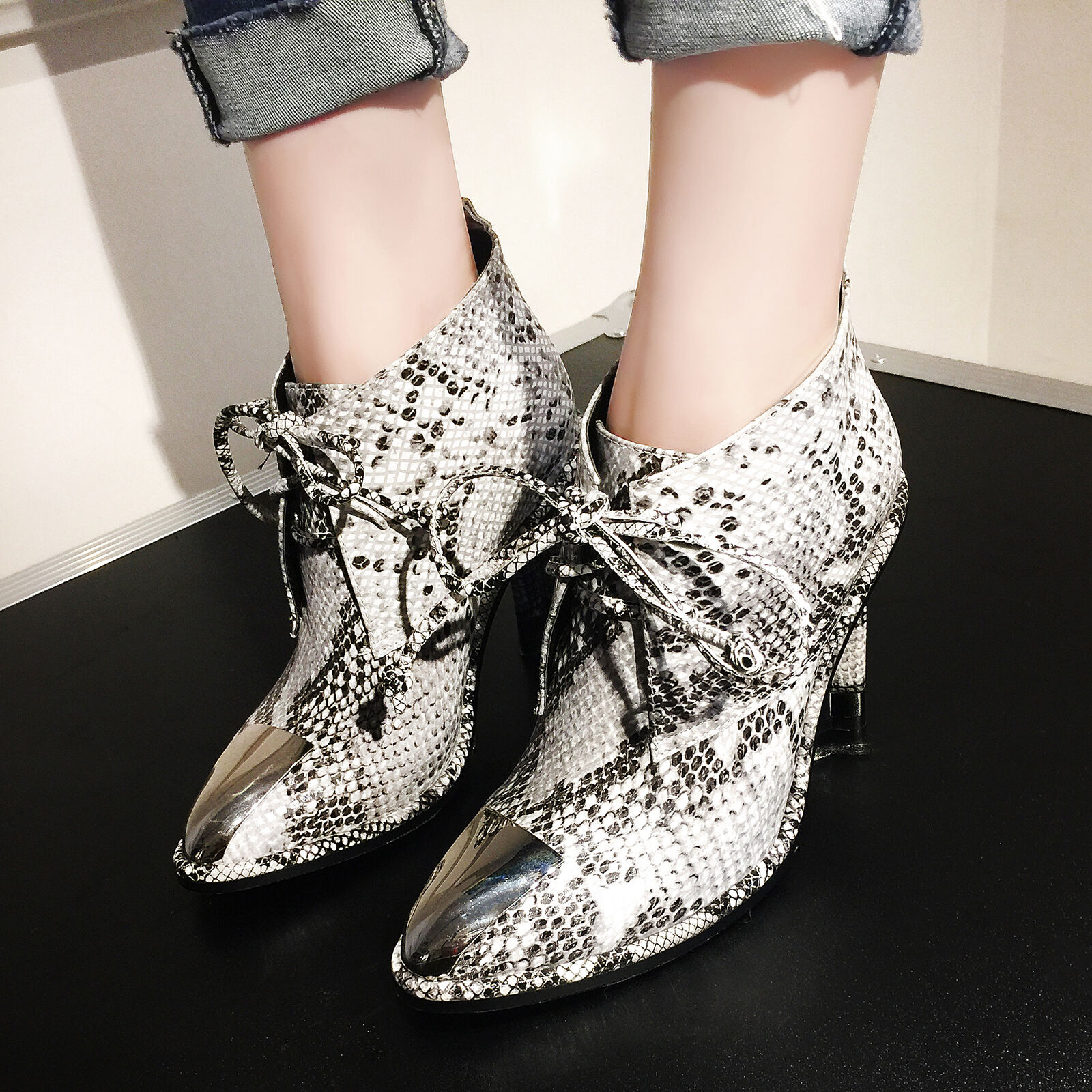 Womens Leather Lace Up Ankle Boots Snakeskin Pattern Block High Heels shoes D338