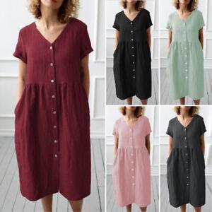 ZANZEA-Women-Buttons-Down-V-Neck-Long-Shirt-Dress-Casual-T-Shirt-Dress-Plus-Size