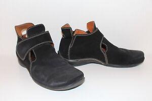 THINK-Damen-SCHUHE-Wildleder-schwarz-38-Lagenlook-Halbschuhe-leather-SHOES-UK5