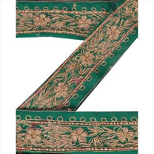 And Children Sanskriti Vintage Sari Border Indian Craft Green Trim Hand Beaded Sewing Lace Suitable For Men Women