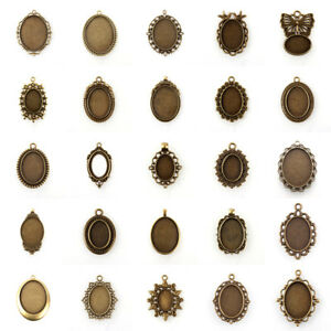 10 Sets Brass Leverback Earring Setting Bezel Oval Cover Antique Bronze 18x13mm