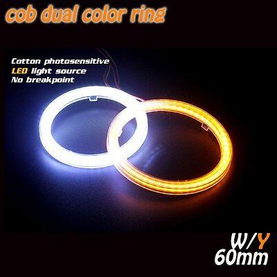 1Pair COB dual color 12V 60mm Angle Eye light LED Halo Ring DRL turn signals