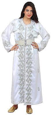 Handmade Moroccan Double Caftan Wedding Gown Kaftan Women Dress Abaya Free Belt