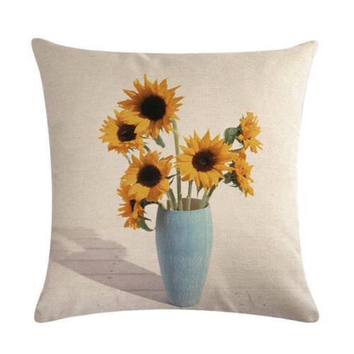 Linen Home Decorative Cushion Cover Pillow Case Sunflowers