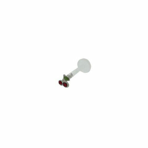 Piercing labret bioflex small cherry design 925 silver