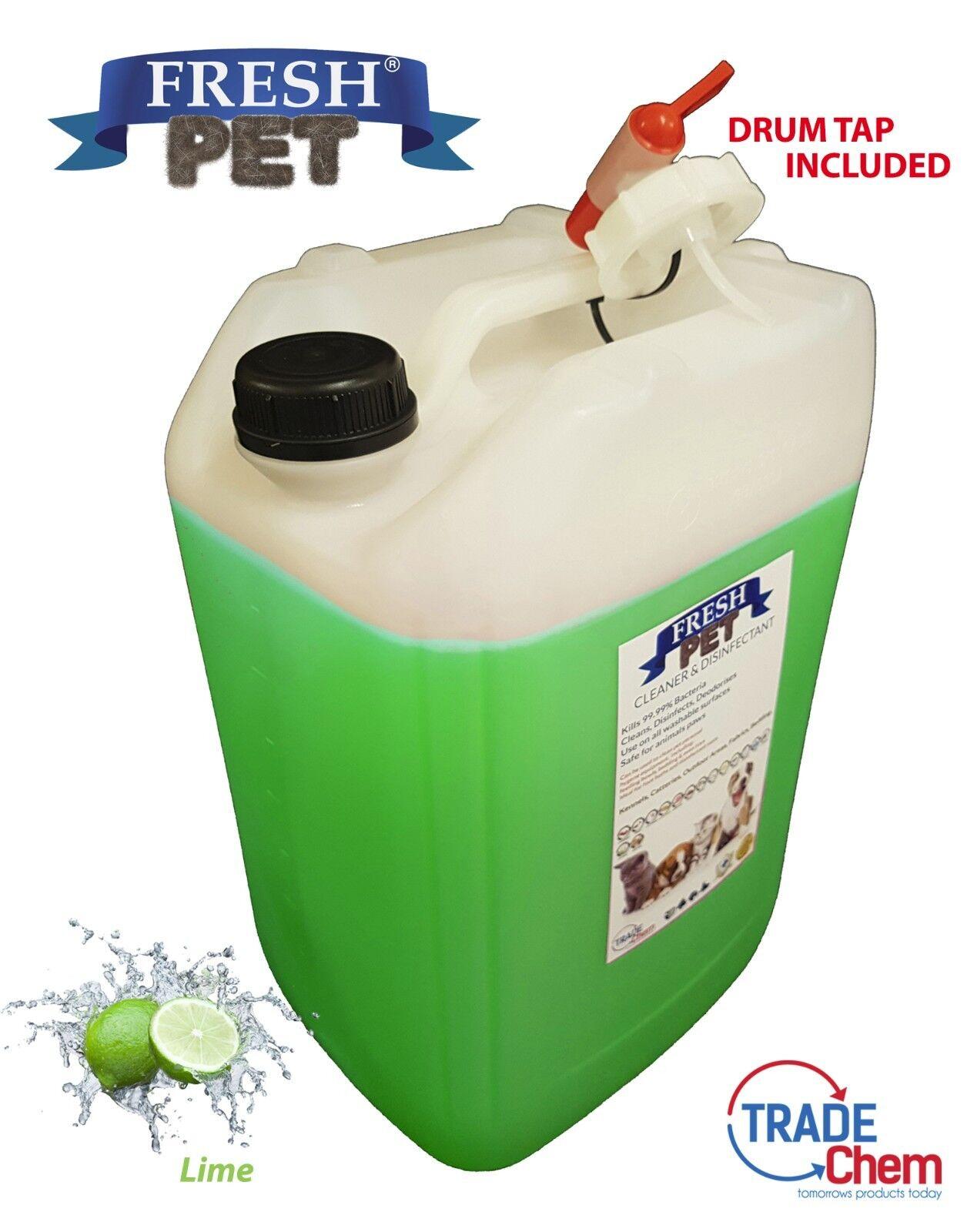 20L FRESH PET Dog Cat Disinfectant, Deodoriser - LIME W  Drum Tap