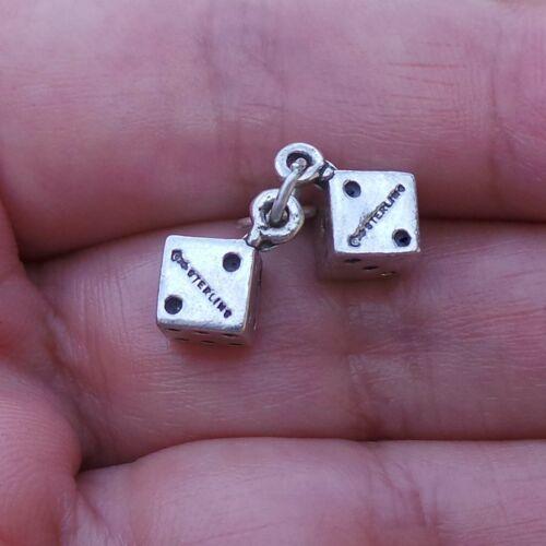 Lucky paire de dés Mobile 3D .925 Solid Sterling Silver Charm Casino